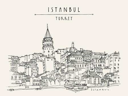 Istanbul, Turkije cityscapee icoon. Stock Illustratie