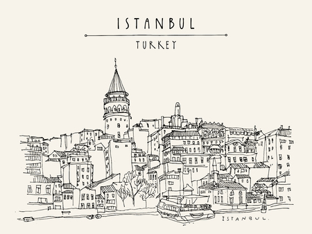 Istanbul, Turkey cityskape icon. Illustration