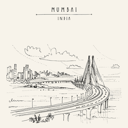 Bandra-Worli Sealink (Rajiv Gandhi Sea Link), a cable-stayed vehicular bridge in Mumbai (Bombay), India. Cityscape sketch. Travel art. Vintage hand drawn postcard in vector 版權商用圖片 - 87780104