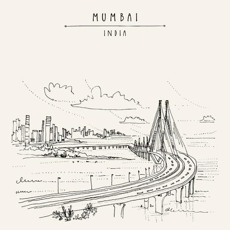 Bandra-Worli Sealink (Rajiv Gandhi Sea Link), un puente vehicular atirantado en Mumbai (Bombay), India. Bosquejo del paisaje urbano Arte de viajes Postal dibujada a mano vintage en vector