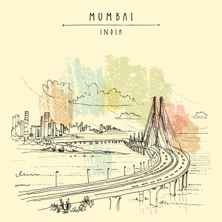 Bandra-Worli Sealink (Rajiv Gandhi Sea Link), a cable-stayed vehicular bridge in Mumbai (Bombay), India. Cityscape sketch. Travel art. Vintage hand drawn postcard in vector