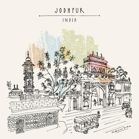 시계탑 및 사다르 Mehrangarh 요새, 라자 스 탄, 인도에 의해 조드 푸르 시장 게이트. 예술적 여행 스케치입니다. 손으로 그려진 된 엽서, 포스터, 벡터 그