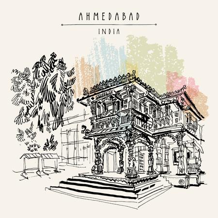 Hutheesing (Hathi Singh Wadi) Jain temple in Ahmedabad, Gujarat, India. Ornate stonework. Travel sketch art. Vintage hand drawn postcard in vector