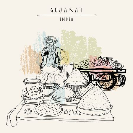 Gewürzmarkt in Gujarat, Indien. Alte indische Mann mit traditionellen Kleidung mit einem Turban. Reisekunst Vintage Hand gezeichnet Postkarte in Vektor