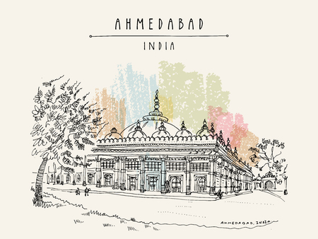 Tomb of Sheikh Ganj Baksh in Sarkhej Roza near Ahmedabad (Ahmadabad), Gujarat, India. Ornate stonework. Travel sketch art. Vintage hand drawn postcard in vector Illustration
