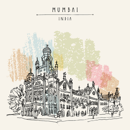 Beautiful old British colonial building in Mumbai (Bombay), India. Hand drawn postcard. Architectural marvel. Travel sketch. Vintage hand drawn postcard. Vector Illustration