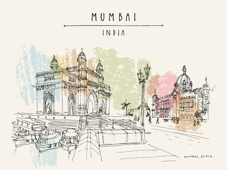 Gateway of India and Taj Mahal Palace Hotel in Mumbai (Bombay), India. Famous British time monuments, 20th century. Cityscape sketch. Travel art. Vintage hand drawn postcard in vector