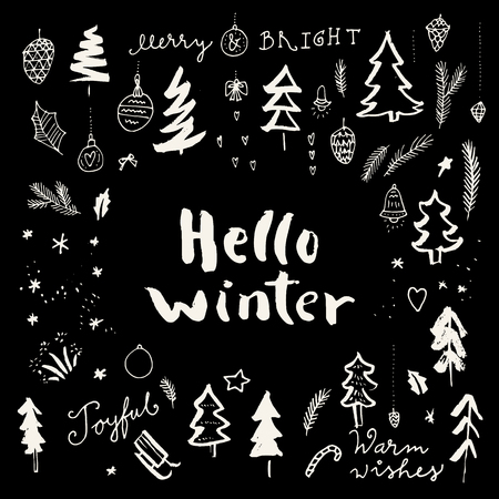 Hello Winter. Merry Christmas doodle calligraphic hand drawn greeting card in black and white. Vector illustration