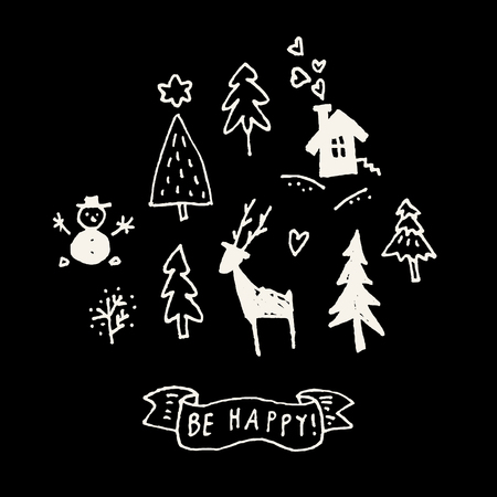 Be Happy. Merry Christmas cute simple doodle calligraphic hand drawn greeting card in black and white. Vector illustration Illustration