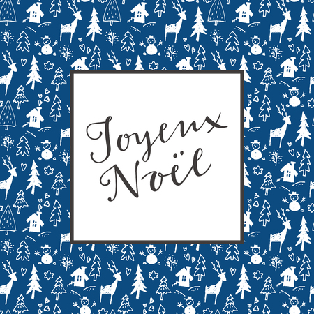Joyeux Noel. French Merry Christmas calligraphy artistic greeting card on blue and white seamless background in vector Illustration