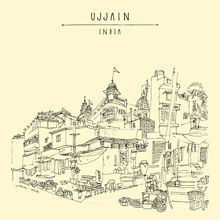 Street in the holy city of Ujjain, Madhya Pradesh, India. Artistic travel sketch. Vintage hand drawn postcard or poster in vector
