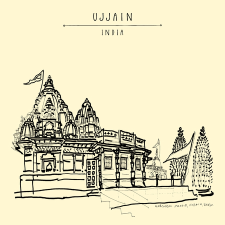 Harsiddhi Mandir (Hindu temple) in holy city of Ujjain, Madhya Pradesh, India. Artistic travel sketch. Vintage hand drawn postcard or poster in vector