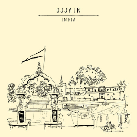 Ram Ghat in holy city of Ujjain, Madha Pradesh, India. Artistic travel sketch. Vintage hand drawn postcard in vector