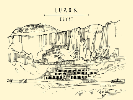 Luxor, Egypt temple of Hatshepsut (Dayr el-Bahri), with the cliffs behind. Colonnaded structure on the West bank of the Nile near the Valley of the Kings. Hand drawn vintage travel postcard in vector.