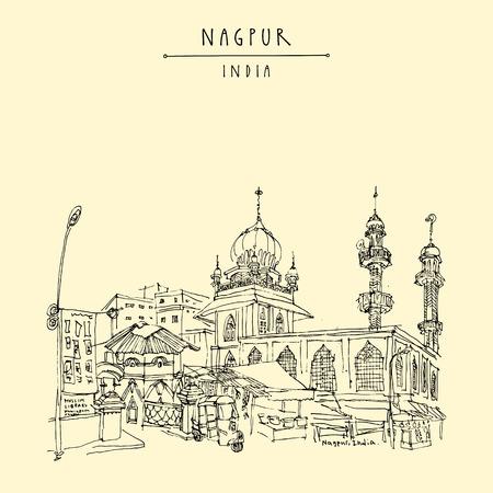Nagpur, Maharashtra, India. Mosque, market and Muslim library. Travel sketch. Vintage hand drew postcard or poster. Vector illustration
