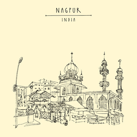 Nagpur, Maharashtra, India. Mosque, market and Muslim library. Travel sketch. Vintage hand drew postcard or poster. Vector illustration