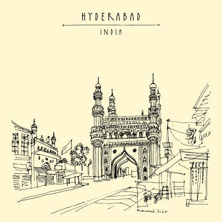 Hyderabad, Telangana state, India. Charminar - famous historical mosque. Travel sketch. Vintage hand drawn Ramadan Kareem or Idul Fitri celebration postcard or poster. Vector book illustration Illustration
