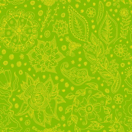 Vector seamless pattern with Spring flowers. Hand drawn floral doodle in green colors. Spring Sale artistic seamless background
