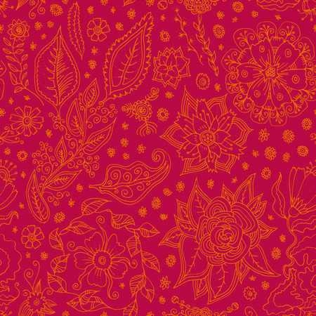 Vector seamless pattern with Spring flowers. Hand drawn floral doodle in red colors. Spring Sale artistic seamless background  イラスト・ベクター素材