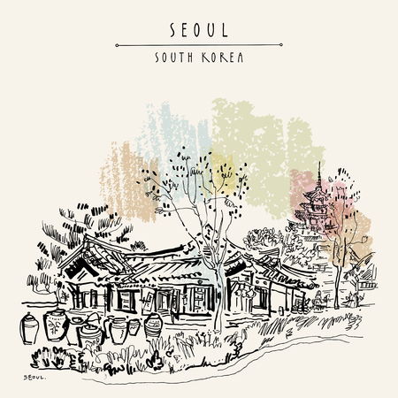 Seoul, South Korea, Asia, old traditional Korean hanok house with pots and National Museum of Korea. Retro style travel sketch vintage hand-drawn touristic postcard, poster, book illustration vector.