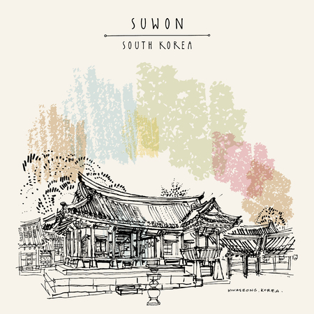 Suwon, South Korea, Asia, Yuyeotaek, a temporary office for the kings and Angbuilgu sundial at temporary palace in Suwon Hwaseong Fortress, Korean national treasure travel hand drawn vector postcard.