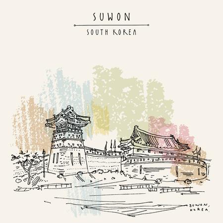 Suwon, South Korea, Asia, Seobukgongsimdon (Observation Tower) and Hwaseomun Gate in Hwaseong Fortress (Buksumun, Hwahongmun). Travel sketch vintage touristic postcard in vector. Illustration