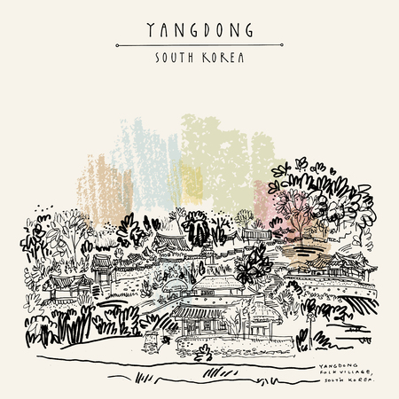Yangdong folk village in Gyeongju, South Korea. Hand drawing in retro style. Travel sketch. vintage touristic postcard, poster or book illustration in vector.