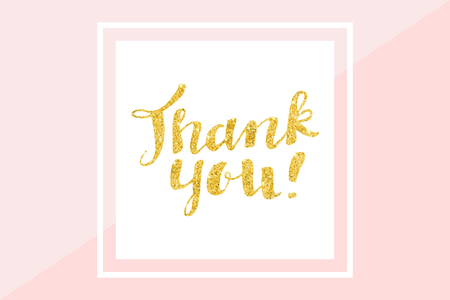Thank you card, gold glitter hand lettering. Vector illustration