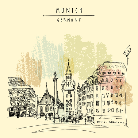 Munich, Bavaria, Germany, Europe. Old Town Hall and Marian column at Marienplatz Square. Travel sketch. Vintage hand drawn postcard, poster, book illustration. Vector artwork Ilustração