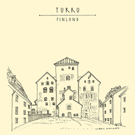 Turku Castle (Turun Linna) in Turku, Finland, Scandinavia, Europe. Swedish castle built in the 13th century. Hand drawing. Travel sketch. Vintage touristic postcard, poster, book illustration. Vector