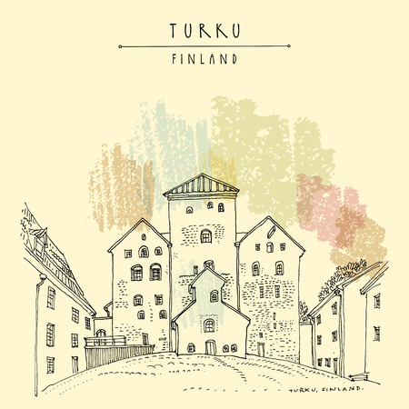 Turku Castle (Turun Linna) in Turku, Finland, Scandinavia, Europe. Swedish castle built in the 13th century. Hand drawing. Travel sketch. Vintage touristic postcard, poster, book illustration. Vector