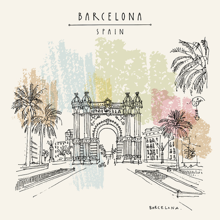 Barcelona, Catalonia, Spain. Arc de Triomf (Triumphal Arch) and palm trees. Travel sketch. Hand drawn vintage touristic postcard, poster, book illustration. Vector artwork