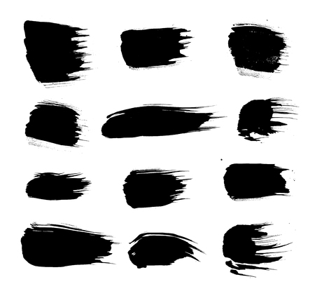Set of Korean, Chinese, Japanese ink brush strokes. Collection of grungy Oriental design elements for your design Illustration