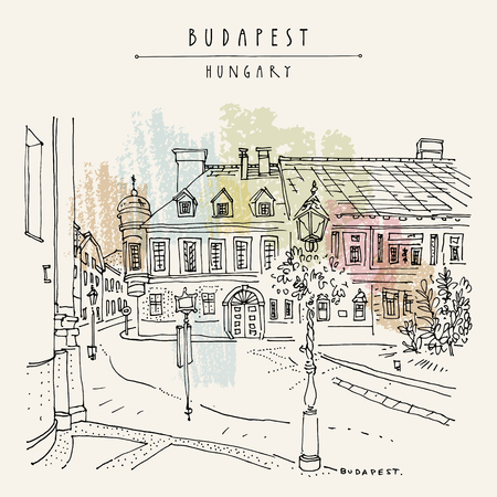 Street in Budapest city, Hungary, Europe. Architectural hand drawing. Travel sketch. Book illustration. Vintage touristic postcard, poster template in vector