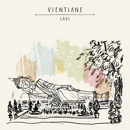 Vientiane, Laos. Gold Reclining Buddha statue at Wat Pha That Luang (Great Stupa), the most important national monument in Laos. Vintage handdrawn travel sketch postcard. Vector illustration
