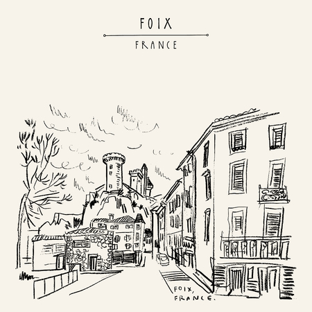 Castle in Foix, Occitanie, France (Chateau des Comtes de Foix). View from town. Hand drawing in retro style. Travel sketch. Vintage hand drawn touristic postcard, poster or book illustration in vector