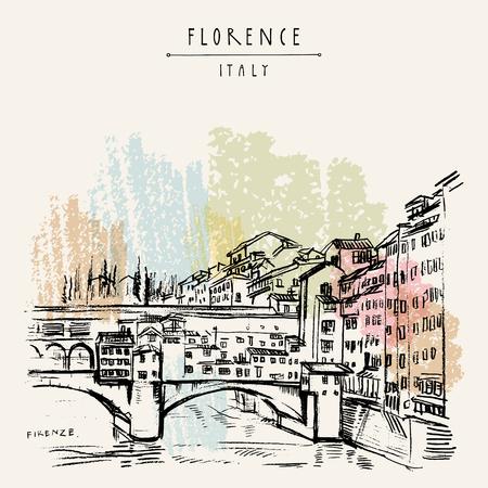 Ponte Vecchio a Firenze, Italia, Europa. Schizzo di viaggio vintage. Cartolina turistica in stile retrò, modello di poster o illustrazione di libri in formato vettoriale