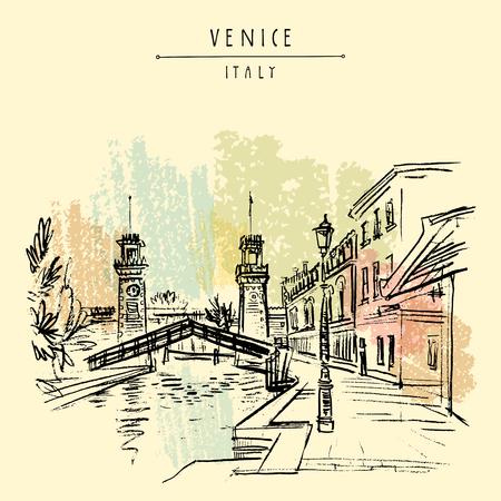 Venice, Italy, Europe. Venetian Arsenal (Arsenale di Venezia). Entrance to the naval Arsenal. Porta di Terra clock towers, Rio de l'Arsenale canal bridge. Travel sketch. Vector hand drawn postcard Illustration