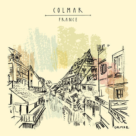 Colmar, France. Old historic houses and water. Romantic Little Venice (Petite Venise). Hand drawing. Travel sketch. Vintage vector hand drawn touristic postcard, poster, book illustration