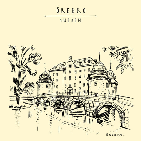 Oerbro Castle in Orebro, Sweden, Scandinavia, Europe. Old town travel sketch. Vintage touristic postcard, poster or book illustration in vector