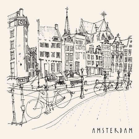 Bridge in Amsterdam, Holland, Netherlands Europe. Dutch traditional historical buildings. Typical Dutch houses and bicycles. Hand drawing. Travel sketch. Book illustration, postcard, poster in vector