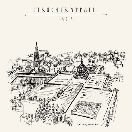 Tiruchirappalli (Trichy), Tamil Nadu state, India. High point view from Rockfort temple. Artistic drawing. Travel sketch. Vintage hand drawn postcard or poster template. Vector illustration