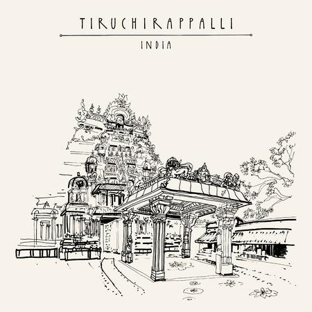 Tiruchirappalli (Trichy), Bundesstaat Tamil Nadu, Indien. Sri Rangam Tempel. Künstlerische Zeichnung. Reiseskizze. Vintage Hand gezeichnete Postkarte oder Plakatschablone. Vektorillustration