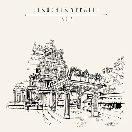 Tiruchirappalli (Trichy), Tamil Nadu state, India. Sri Rangam temple. Artistic drawing. Travel sketch. Vintage hand drawn postcard or poster template. Vector illustration