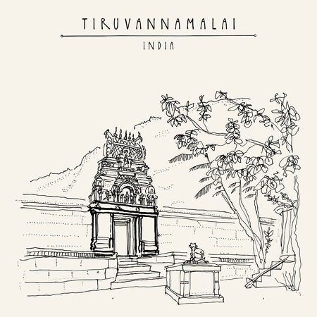 Tiruvannamalai, Tamil Nadu, India. Arunachala holy mountain, small Hindu temple and holy cow statue, steps and trees. Achitectural drawing. Travel sketch. Vintage handdrawn postcard, poster. Vector  イラスト・ベクター素材