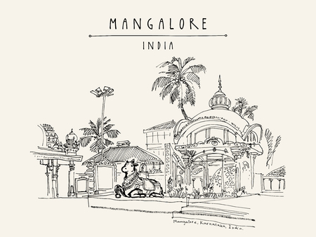 Mangalore, Karnataka, India. Holy cow statue in Kudroli Hindu temple (Gokarnanath). Travel sketch. Vintage hand drawn postcard template. Vector