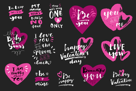 Set of Valentine's day hand lettered love messages with hearts. Mama Didn't Raise No Fool, Be My Valentine, Happy Valentines Day, You and Me. Modern calligraphy. Photo overlays, T-shirt, bag. Vector