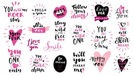 Set of Love vintage hand drawn quotes in black and pink colors on white background. For postcards, photo overlays, greeting cards, T-shirts, bags in retro style. Vector calligraphic artwork