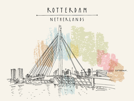 Rotterdam, Holland, Netherlands, Europe. Erasmus bascule bridge (Erasmusbrug) and tower blocks on the horizon. Hand drawing. Travel sketch. Book illustration, postcard, poster in vector