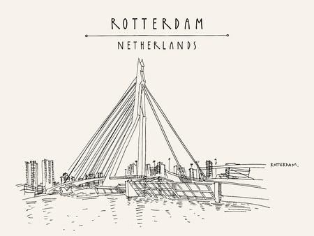 Rotterdam, Holland, Netherlands, Europe. Erasmus bascule bridge (Erasmusbrug) and tower blocks on the horizon. Hand drawing. Travel sketch. Book illustration, postcard, poster in vector